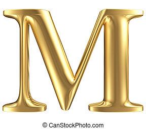 dorado, mate, letra m, joyería, fuente, colección