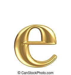 dorado, mate, letra minúscula, e, joyería, fuente, colección
