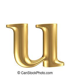 dorado, mate, letra minúscula, u, joyería, fuente, colección