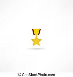dorado, medalla, aislado