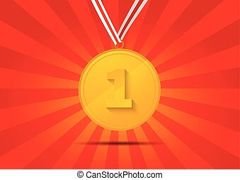 dorado, medalla, para, primer lugar, en, fondo rojo