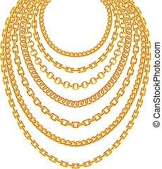 dorado, metálico, cadena, collares, vector, conjunto