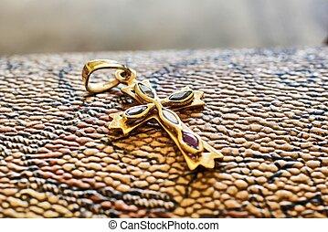 dorado,  metal, cruz