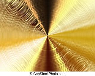 dorado, metal, textura, circular