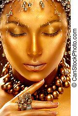 dorado, moda, arte, belleza, skin., retrato, modelo, niña
