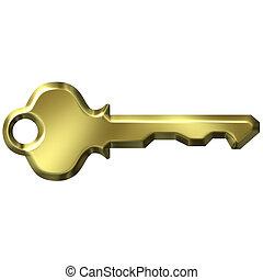 dorado, moderno, llave, 3d