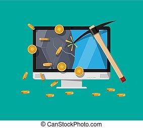 dorado, moneda, computadora, chip.
