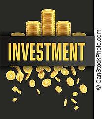 dorado, monedas., cartel, inversión, diseño, plantilla, ...