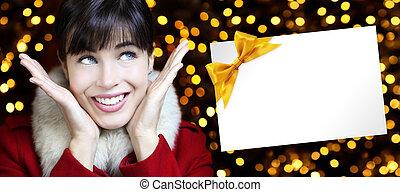 dorado, mujer, luces, Plano de fondo, navidad, tarjeta