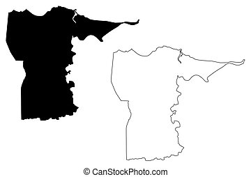 Dorado municipality (Commonwealth of Puerto Rico, Porto Rico, PR, Unincorporated territories of the United States) map vector illustration, scribble sketch Dorado map
