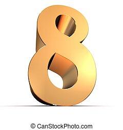 dorado, número, -, 8