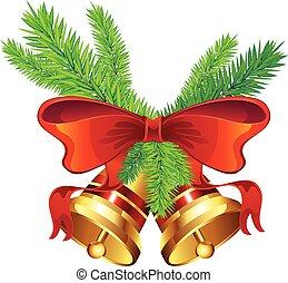 dorado, navidad, campana