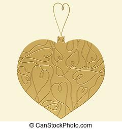 dorado, navidad, corazón