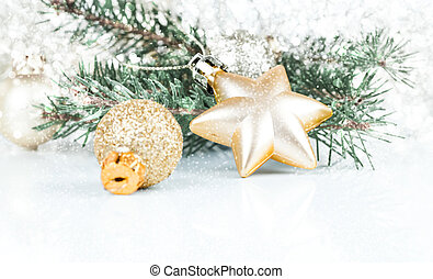 dorado, navidad, decoración, con, espacio de copia