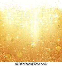 dorado, navidad, estrellas, plano de fondo, luces