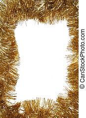 dorado, navidad, marco, con, espacio de copia