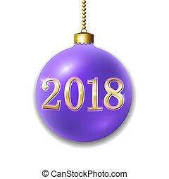 dorado, navidad, oro, decoración, brillante, año, design., púrpura, aislado, fondo., 2018, nuevo, chuchería, feriado, pelota, navidad, feliz, number., ilustración, alegre, blanco, celebración, vector, 3d