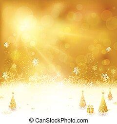 dorado, navidad, plano de fondo, con, árbol de navidad, y, presente