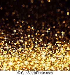 dorado, navidad, plano de fondo, luces