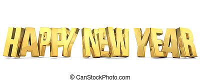dorado, negrita, render, año, nuevo, 3d, feliz