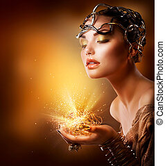 dorado, niña, moda, portrait., maquillaje