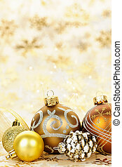 dorado, ornamentos, navidad, plano de fondo