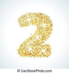 dorado, oro, dos, ilustración, número, vector, diseño, style...