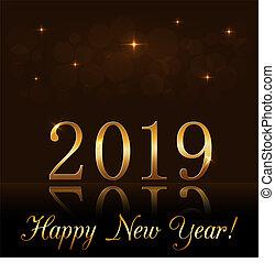 dorado, oro, feriado, diseño, luz, año, texture., card., fondo., 2019, lujo, glitter., nuevo, navidad, feliz, destello, símbolo, ilustración, celebration., brillo, vibrante, vector, números