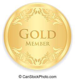 dorado, oro, patrón, miembro, vendimia, insignia