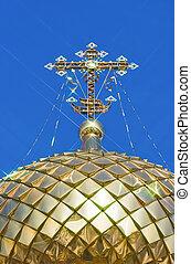 dorado, ortodoxo, cruz, contra, cielo azul, plano de fondo