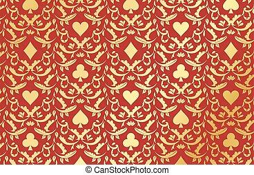 dorado, póker, símbolos, fondo rojo, tarjeta