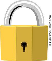 dorado, padlock., no, simple, ilustración, efectos, ...