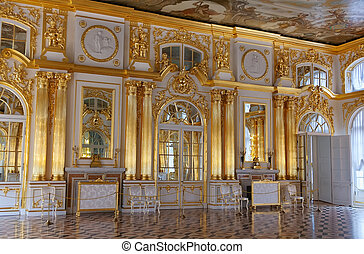 dorado, palacio, catherine, vestíbulo