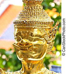 dorado, palacio, phra, keao, bangkok, estatua, magnífico,...
