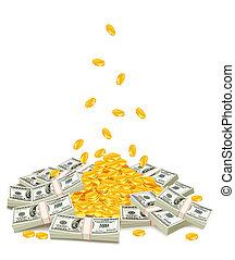 dorado, paquetes, coins, dólar, abajo, goteante, pila