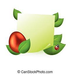 dorado, Pascua, hojas, nota, verde, huevo