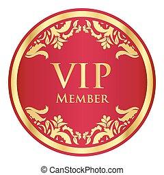 dorado, patrón, miembro, vip, vendimia, insignia, rojo