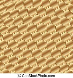 dorado, patrón, resumen, fondo., forma, pentágono, fisheye