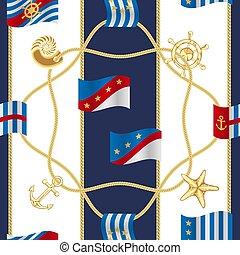dorado, patrón, seamless, símbolos, banderas, lujo, marina