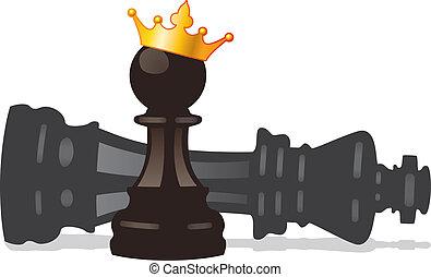 dorado, peón, rey, corona, derrotado, vector, ajedrez
