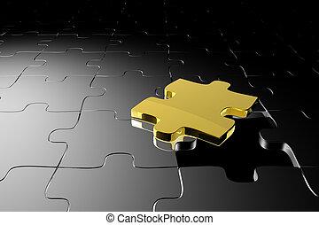 dorado, pedazo del rompecabezas