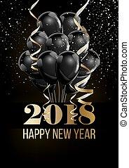dorado, pelota, confettti, globo, decoración, vector, 2018, ...