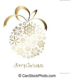 dorado, pelota, copos de nieve, navidad, hecho