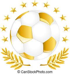 dorado, pelota del fútbol