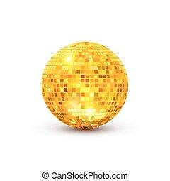 dorado, pelota, illustration., club, luz, noche, aislado, ...