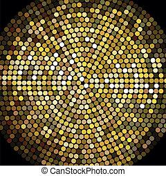 dorado, pelota, mosaico, plano de fondo, disco