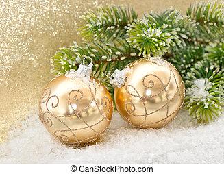 dorado, pelotas, árbol, navidad, rama