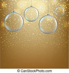 dorado, pelotas, navidad, plano de fondo
