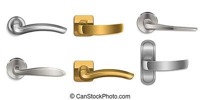 dorado, perillas, conjunto, manijas, realista, plata