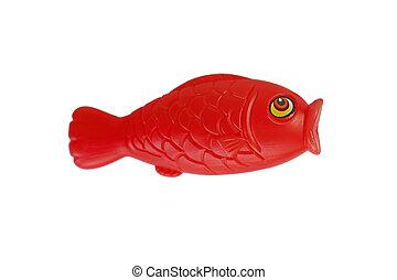 dorado, pez, aislado, plástico, plano de fondo, rojo blanco